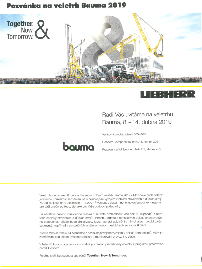 Pozvánka na veletrh Bauma 2019